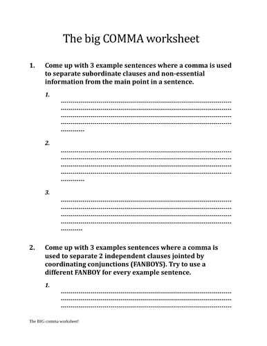 Comma worksheet KS3+KS4