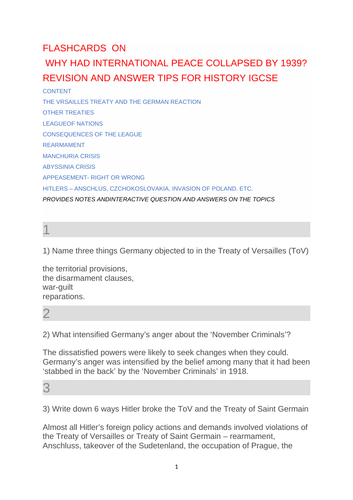 IGCSE HISTORY Revision Notes on Why did International Peace Collapse by 1939?