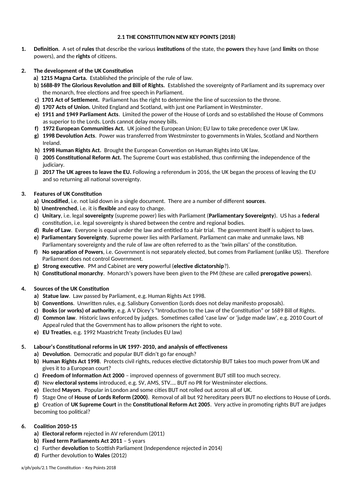 Government and Politics: The Constitution Key Points Sheet (NEW SPEC) - Edexcel