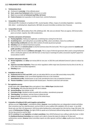 Government and Politics: Parliament Key Points Sheet (NEW SPEC) - Edexcel