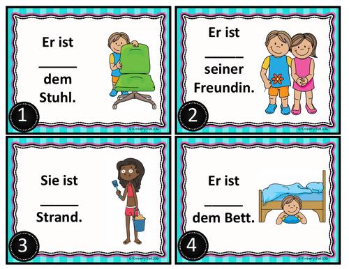 German Prepositions of Place Task Cards / Präpositionen
