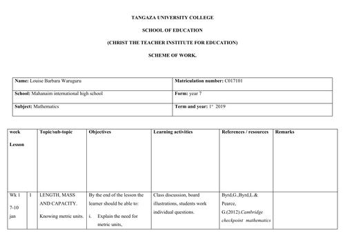 Mathematics scheme of work for year 7 cambridge IGCSE