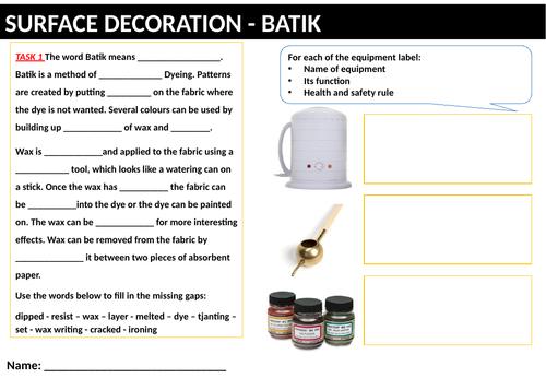 Cover worksheets - Batik Technique