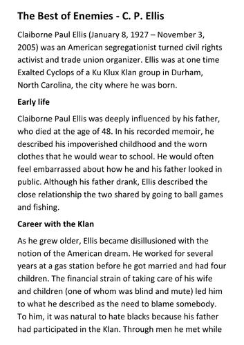 The Best of Enemies - C. P. Ellis Handout