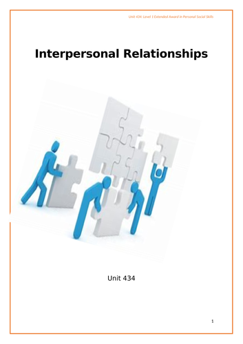 Interpersonal Relationships Module Task Booklet. Level 1 Employability / Personal Social Skill (C&G)