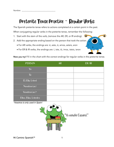 Regular Spanish Verbs, PRETERITE Tense Conjugation (Overview & Worksheets!)
