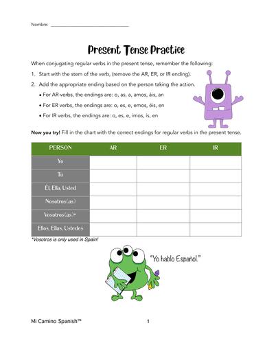 Regular Spanish Verbs, PRESENT Tense Conjugation (Overview & Worksheets!)
