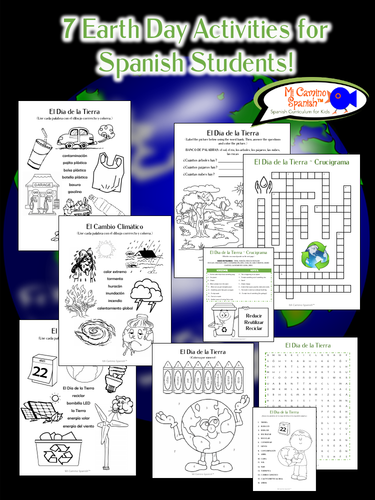7 Earth Day Activities for Spanish Students! (Just print!)