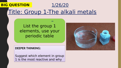 AQA new specification-Group 1-the alkali metals-C2.3