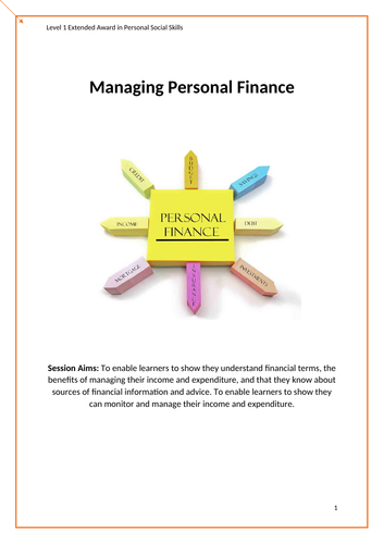 Managing Personal Finance Level 1,  City and Guilds Course/ Task booklet. Employabilty / PSS