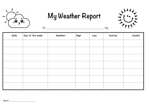 Weather Report sheet