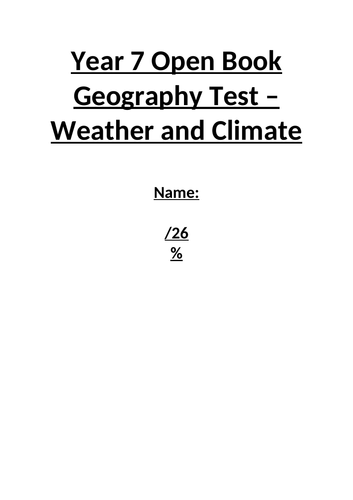 Year 7 Weather and Climate Geography Test