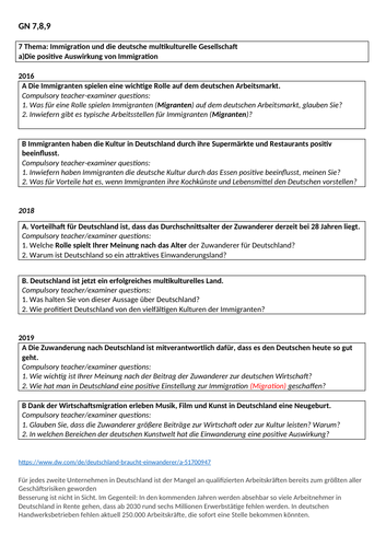 Edexcel German A-Level (A2) Speaking practice booklet on Immigration and Integration