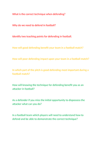 Football differentiated AFL Questions
