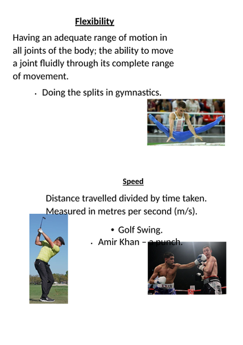 BTEC Sport Components of Physical Fitness Lesson