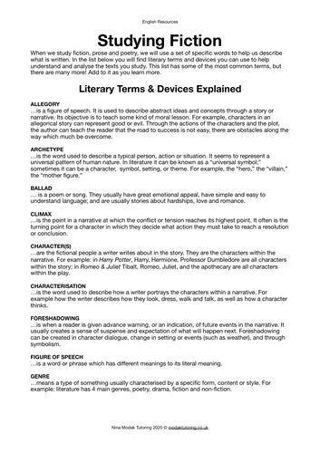Literary Terms & Devices List