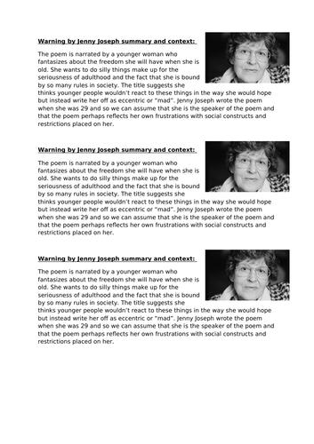 Year 9 Poetry Warning Jenny Joseph