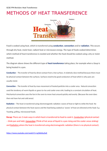 Heat transference - revision aid with video links
