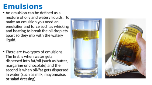 Emulsions lesson plan (with info/diagram/video link and practical activity)