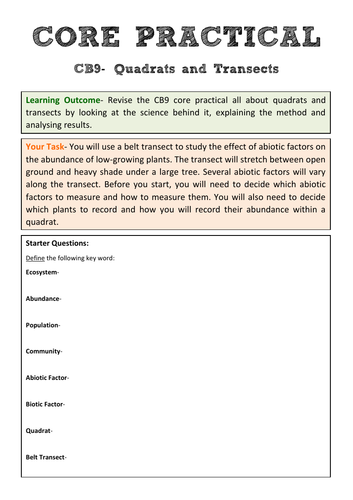 Edexcel CB9 Core Practical Revision- Quadrats and Transects