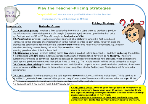 Pricing Strategies- Play the Teacher- with differentiated version