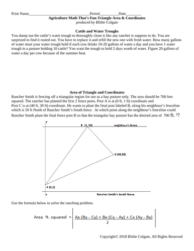 Agriculture themed math with triangle area & coordinate solving