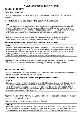 A-level Sociology Paper Two Question Bank