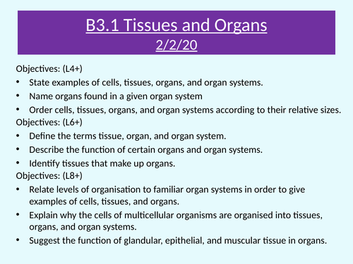 AQA B3.1 Tissues and organs