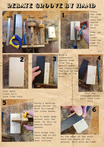Rebate groove by hand guide. Practice using a 12mm chisel
