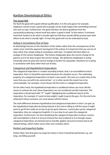 AQA A-Level Philosophy Kantian Ethics
