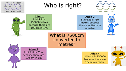 Concept cartoons - converting measure length (metric)