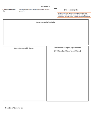 Cambridge IGCSE Geography Revision Templates