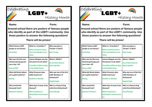 LGBT History Month Activity or Display (Information Hunt)