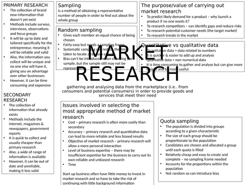 Market research and business structure