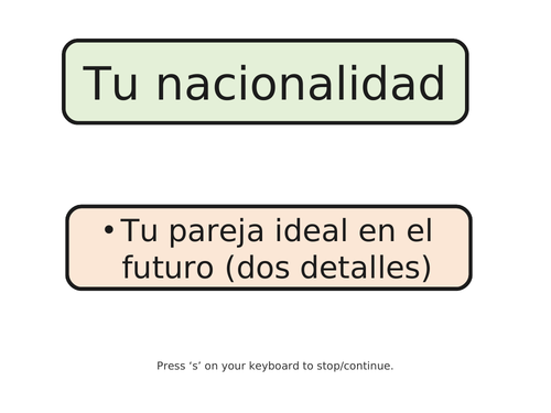 Role play practise (Spanish)