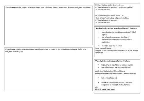 AQA Religious Studies Revision worksheet for Themes E and F