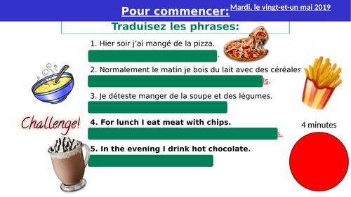 La nourriture - Listening and reading Practice -  French KS3