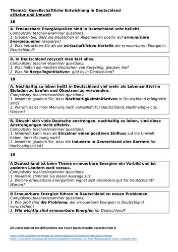 Edexcel German A-Level (A2)Speaking practice booklet Gesellschaftliche Entwicklung in Deutschland &