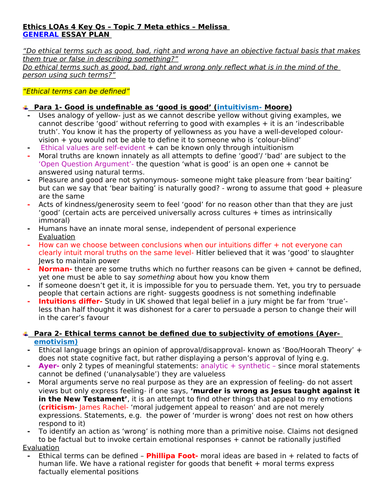 OCR A Level RS- Meta-ethics essay plans