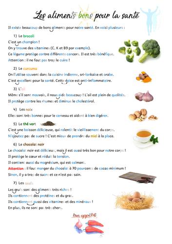 Aliments bons pour la santé (Healthy food - French A1)