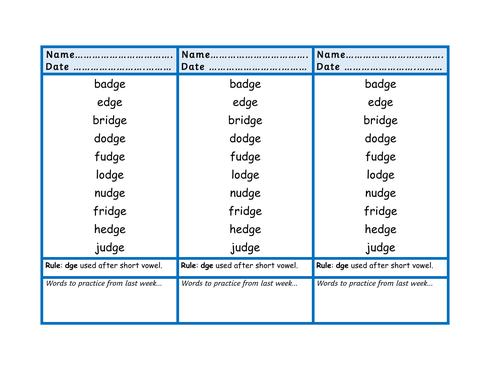 Spelling Lists for KS1