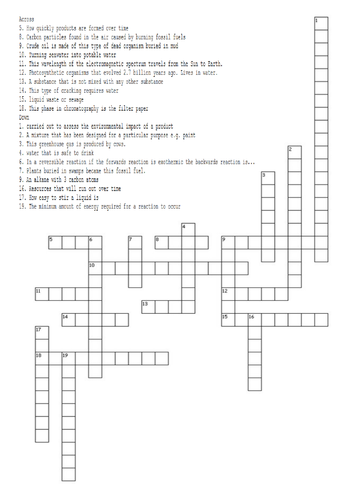 AQA Trilogy Chemistry Paper 2 Revision Crossword (with answers)