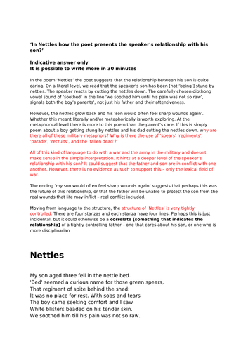 AQA Unseen Poetry 'Nettles' Lesson + Indicative Answer