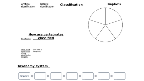Classification Overview sheet