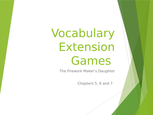 Vocabularly games on Firework Maker's Daughter Ch 5-7