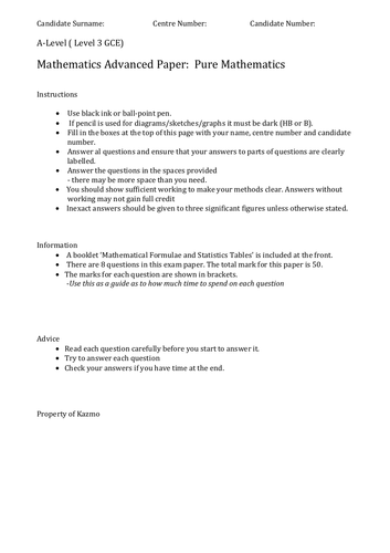 New A-level Maths (Pure) Practice Paper 1B