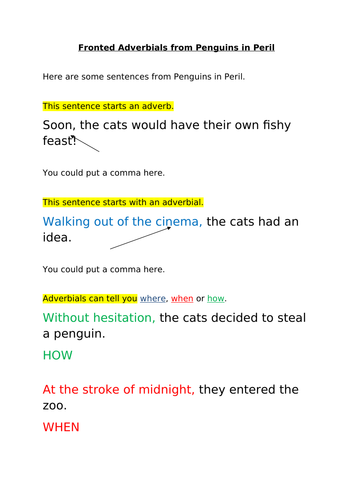 Penguins in Peril and Fronted Adverbials