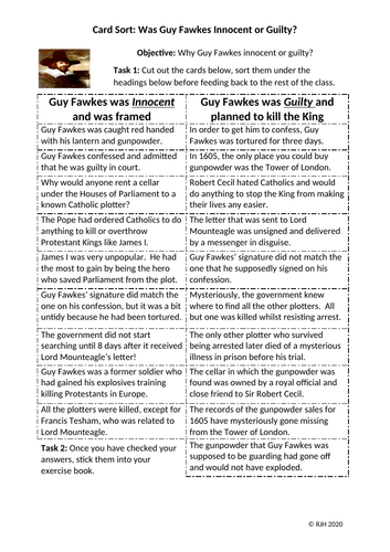 Card Sort SEND: Was Guy Fawkes Innocent or Guilty?