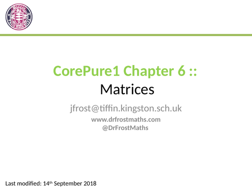 Core Pure Year 1 - Chapter 6 - Matrices