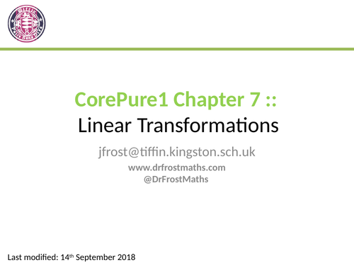 Core Pure Year 1 - Chapter 7 - Linear Transformations